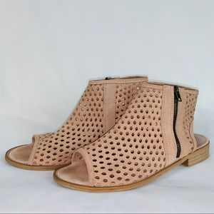 Muse& Cloud 10 Suede Leather CutOut Peep Booties